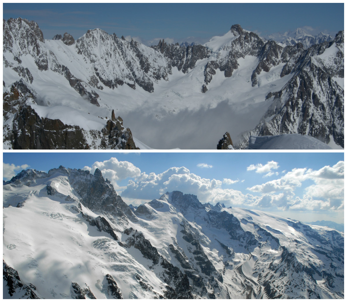 Chamonix au Sommet de l'Aiguille du Midi - © Armelle Solelhac (En haut) La Meije - © OT La Meije (En bas)