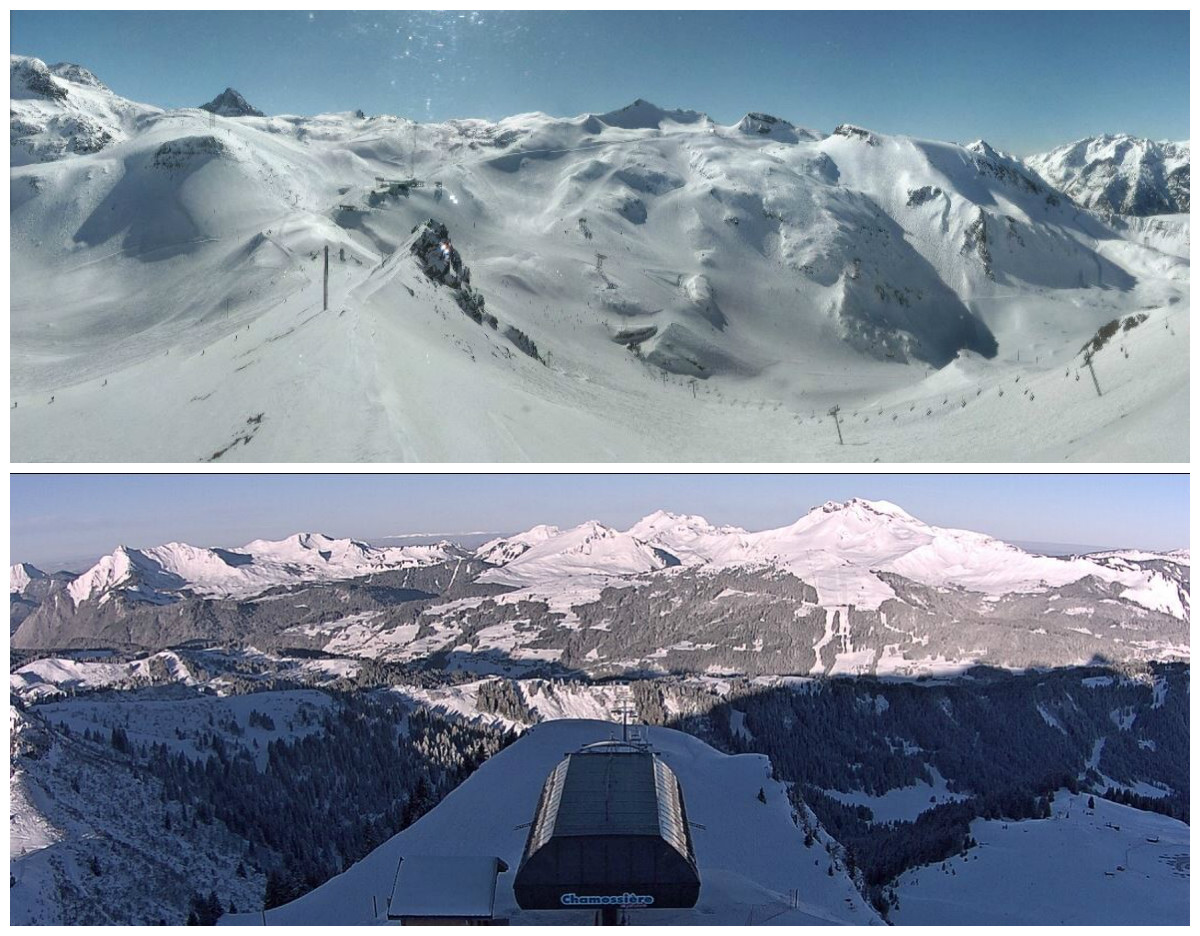 Webcam Les 2 Alpes - La Fée (En haut) Webcam Morzine - Télésiège de Chamossière (En bas)