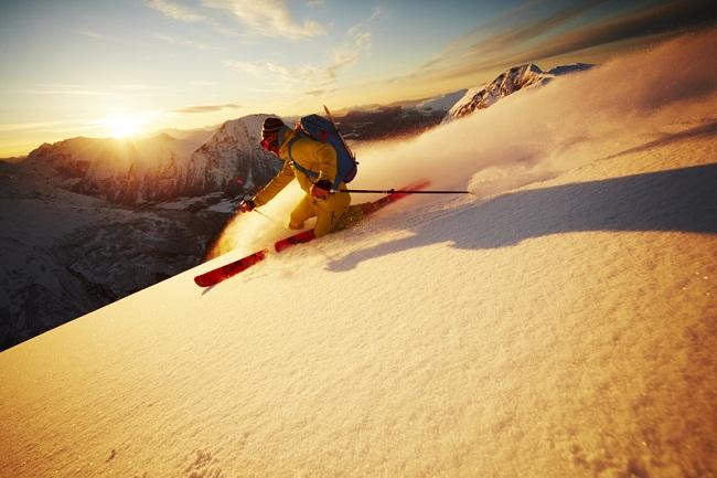 ski coucher de soleil