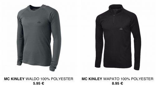 Mc Kinley gamme 1er prix - 100% polyester – 5,95 € le T-shirt col rond (existe en femme) et 8,95 € le demi-zip