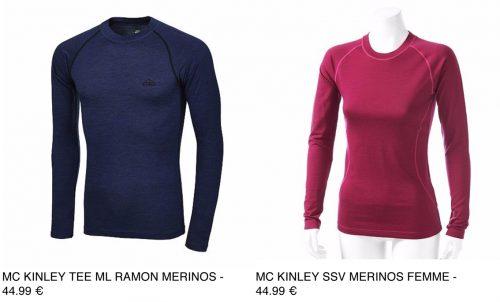 Mc Kinley gamme Mérinos – 100% mérinos – 44,99 €