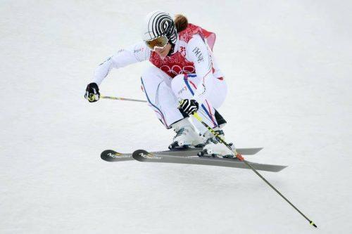Photo d'Ophélie David pendant une compétition de skicross
