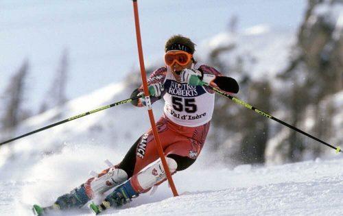 Sébastien Amiez lors d'une compétition à Val d'Isère (sebastien-amiez-en-1993-photo-agence-zoom)
