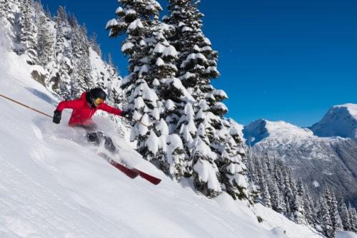 Le plaisir de skier dans une neige fraîche