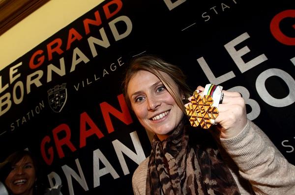 Tessa Worley, médaillée lors d'une compétition au Grand Bornand