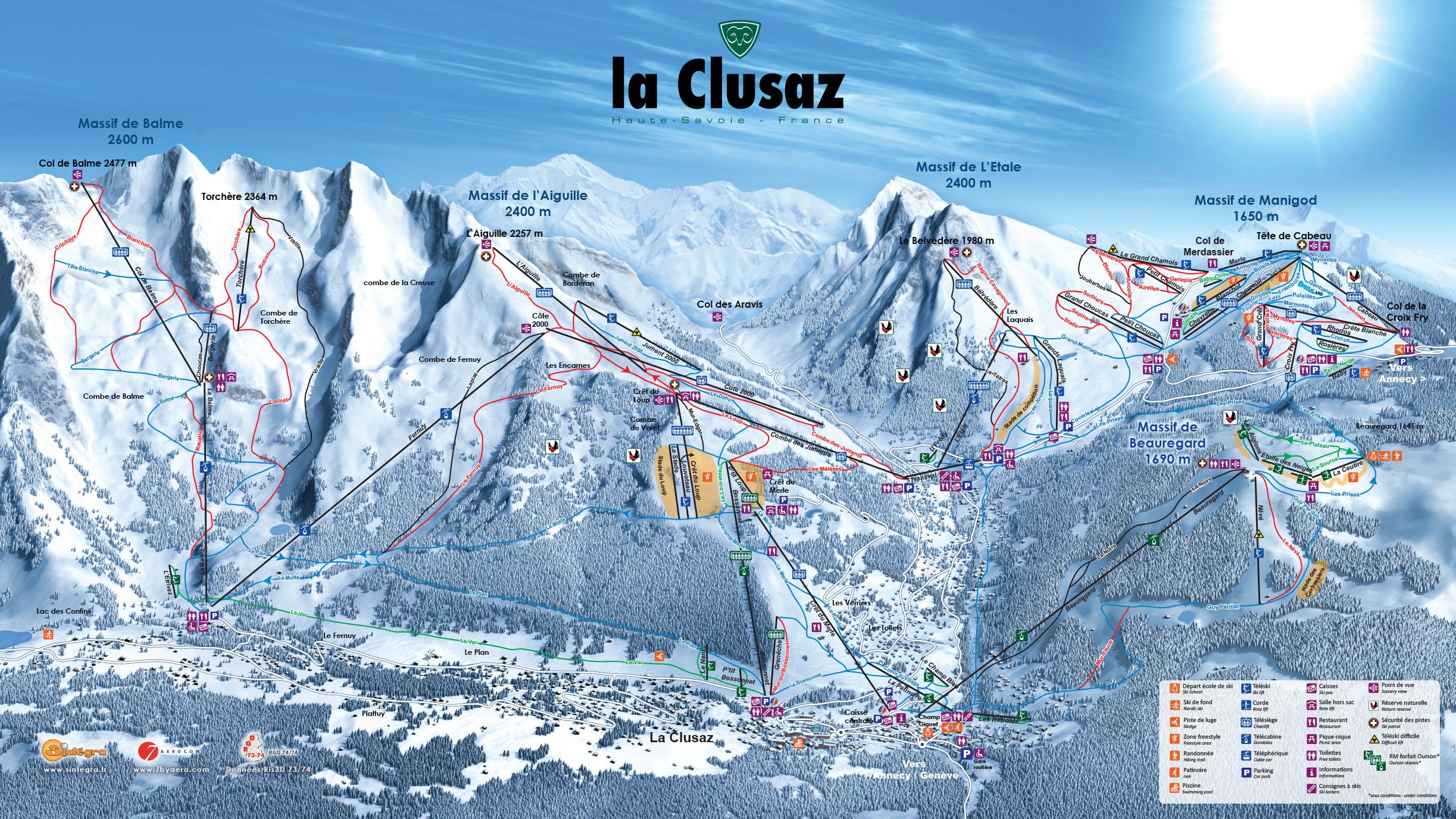 Carte de la station de la Clusaz